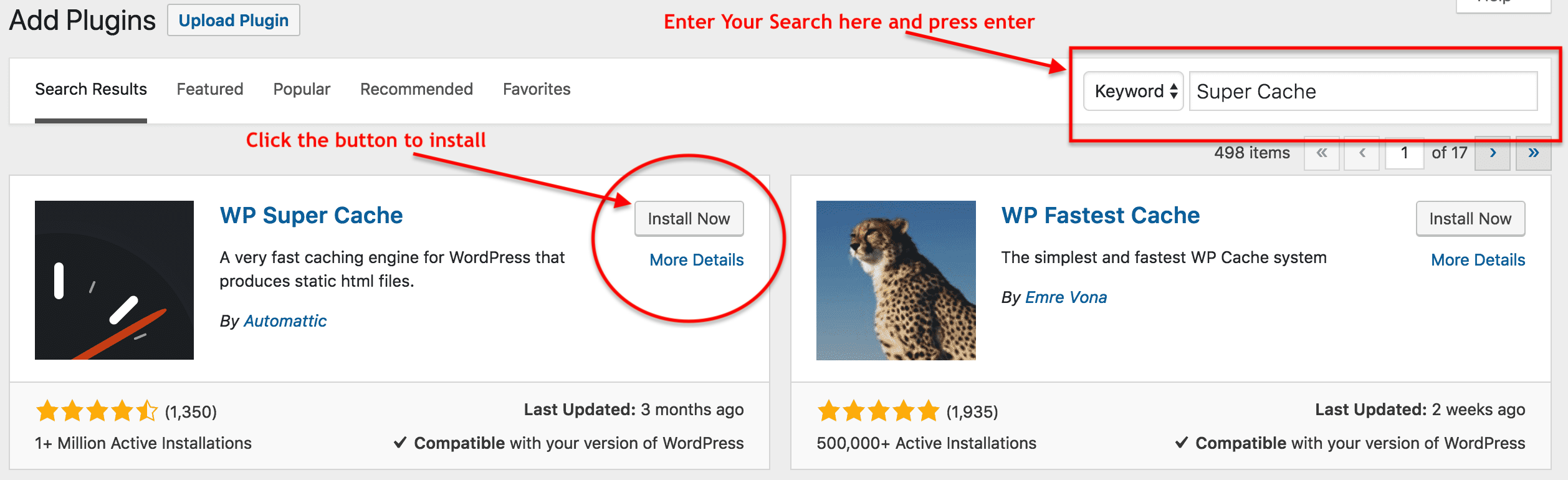 free search for wordpress plugins to install